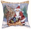Christmas Chickadee Joy Santa Decorative Tapestry Pillow