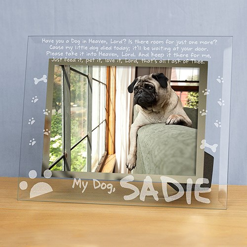 Personalized Engraved Dog Memorial Pet Glass Picture Frame