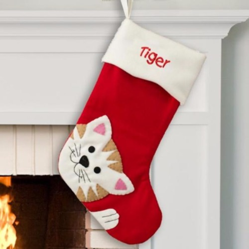 Cat Christmas Stockings.Personalized Embroidered Cute Cat Christmas Stocking