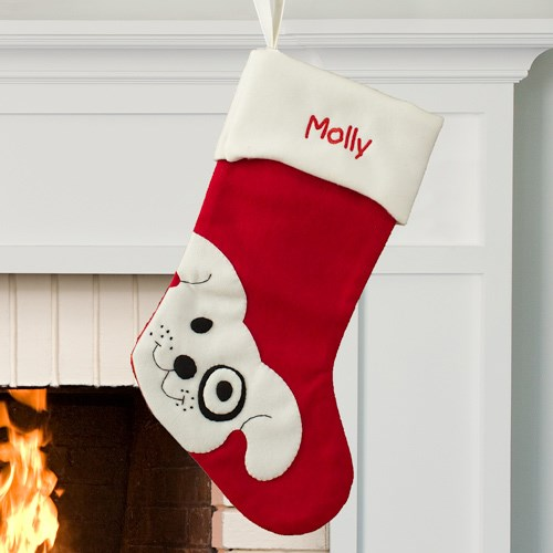 Family Christmas Stockings.Personalized Embroidered Cute Dog Christmas Stocking