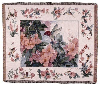 Hummingbird Garden Tapestry Throw Size 60x50
