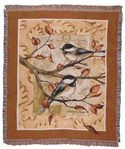 Autumn Fall Chickadee Tapestry Throw Size 60x50