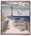 Seaside Escape Lighthouse Tapestry Throw