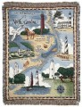 Lighthouses of North Carolina Tapestry Throw