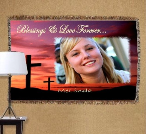 personalized memorial photo tapestry throw blanket size 38x54