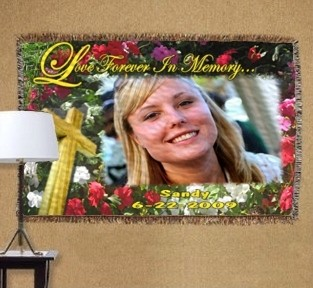 personalized memorial of roses photo tapestry throw blanket size
