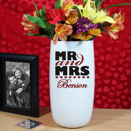 225 & Personalized Mr and Mrs Ceramic Flower Vase