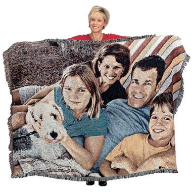 Personalized Picture Weave Collage Afghan Blanket Size 72x54