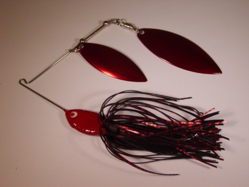 Black Red Chrome Spinnerbait with Double Willow Blades