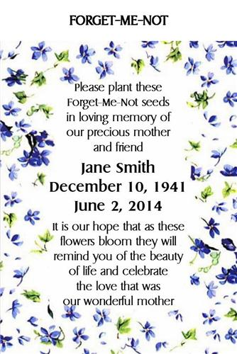 Memorial Keepsake Remembrance Funeral Seed Packets Forget Me Not