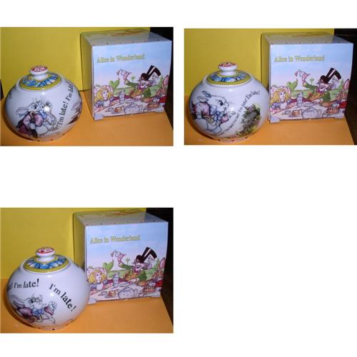 Alice in Wonderland Sugar Bowl made of porcelain