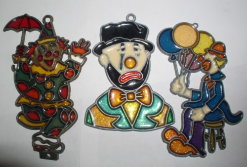 Clowns 2 stained glass with balloons and sad face ornaments plus bonus