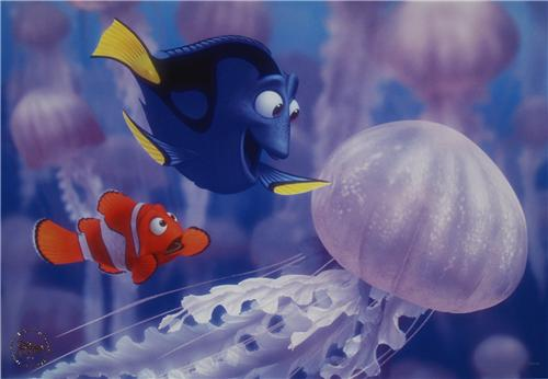 Walt Disney Pixar Finding Nemo Merlin and Dory Jelly Fish Gold Seal Lithograph