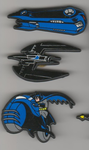 Batman Batbike Batplane Batmobile made In England UK European set of 3 pinpins