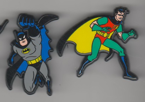 Batman and Sidekick Robin made In England UK European set of 2 pinpins