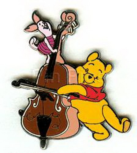 Disney - DLR - Pooh and Piglet Playing Bass cello Winnie Pooh pinpins