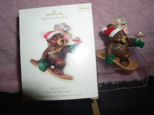 Nick and Christopher Up for Fun Winter skiing Hallmark Keepsake Ornament
