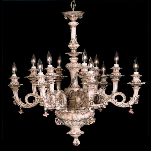 Capodimonte Chandelier 12 lights Brown & Gold New Italy GA 209 12 SC