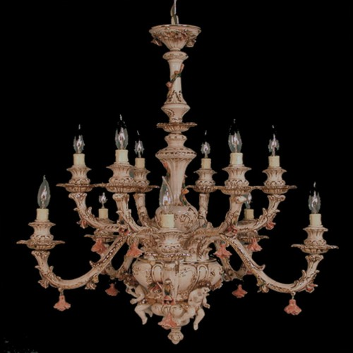 Capodimonte Chandelier 12 Light Brown Gold Hand painted New Italy GA-51 A SC
