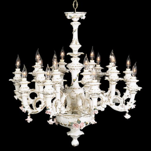 Capodimonte Chandelier 16 Lights White Gold Hand painted New Italy GA-209 16 W