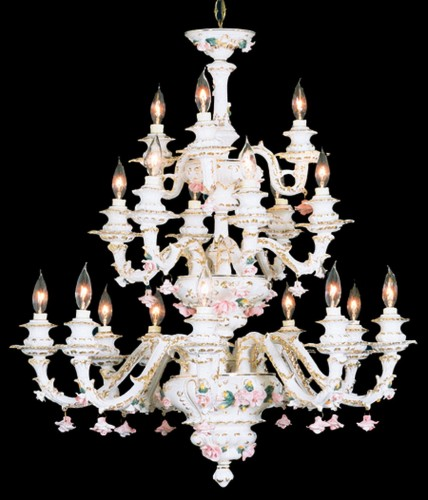 Capodimonte Chandelier 18 Light White Gold Hand painted New Italy GA-26 WG