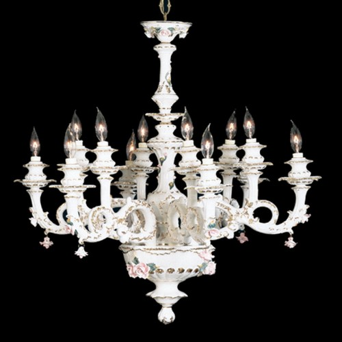 Capodimonte Chandelier 12 Lights White Gold Hand painted New Italy GA-20912