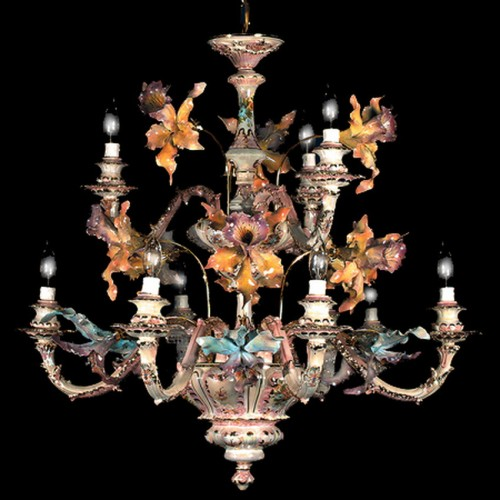 Capodimonte Chandelier 9 Light Mother of Pearl w Orchid New Italy GA-2159 MP