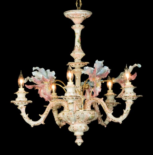 Capodimonte Chandelier Mother of Pearl 5 Light 5 Orchid NEW Italy GA-2255 MP