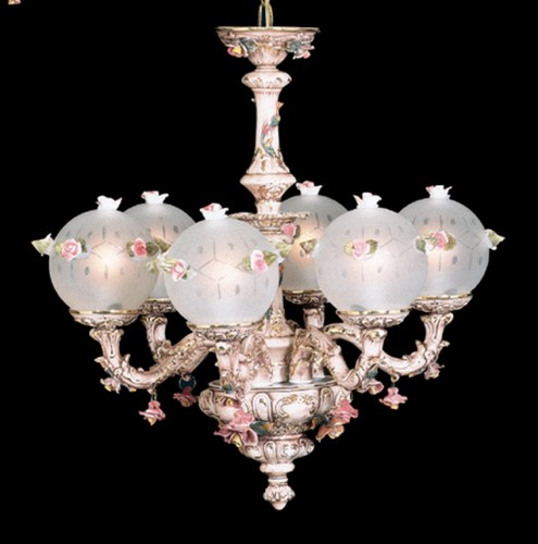 Capodimonte Chandelier 6 lights 6 Globes Brown & Gold GA-206 G SC