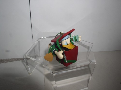 Donald Duck spool and thread ornament present by Katrina Bricker dated 1997