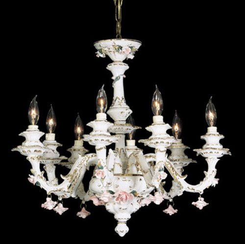 Capodimonte Chandelier 8 Lights White Gold Hand painted New Italy GA-2078WG