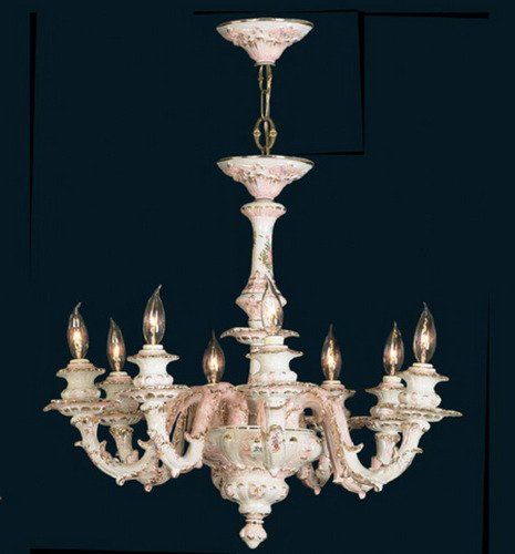Capodimonte Chandelier 8 Lights White Gold Hand painted New Italy GA-2078 MP