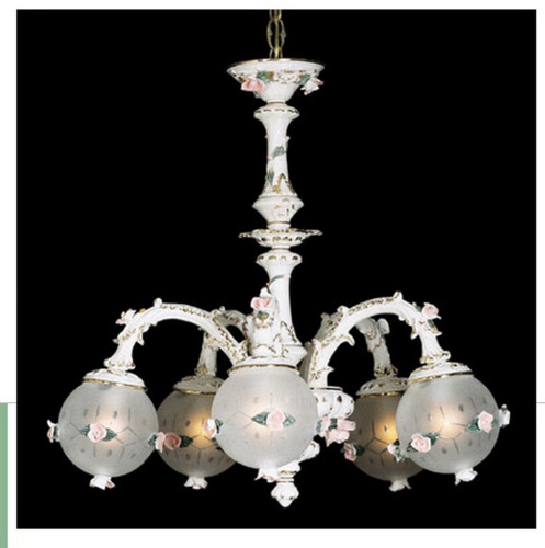 Capodimonte Chandelier White & Gold 5 Lights 6 Globes New Italy GA-28 G WG