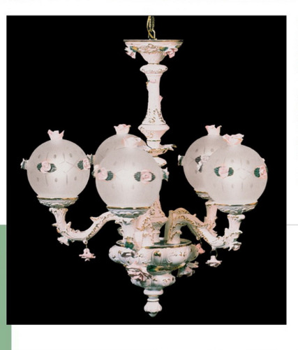 Capodimonte Chandelier 5 Lights 5 Globes White Gold New Italy GA-2065 G WG