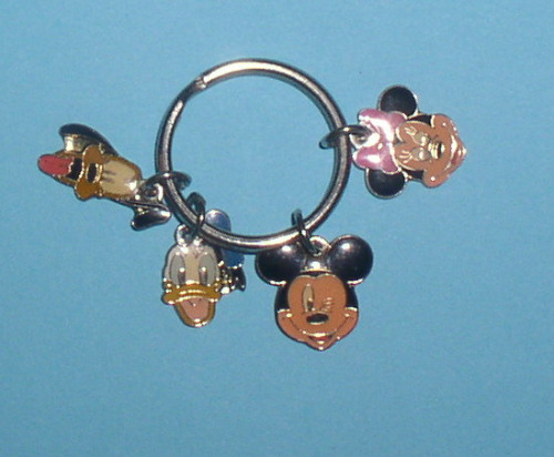 Donald Pluto Mickey Minnie Mouse 4 faces charms Walt Disney metal key chain