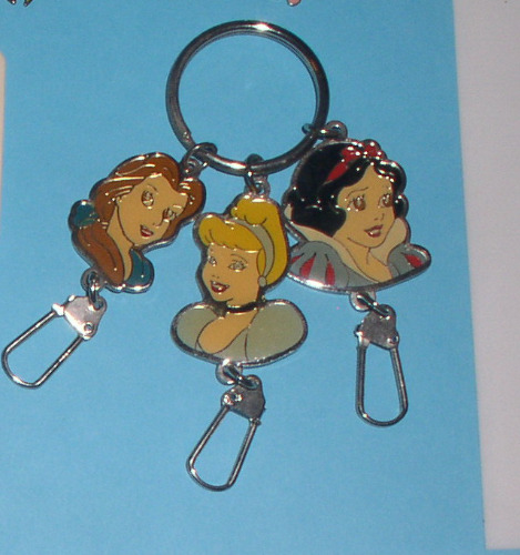 Belle Snow White Cinderella 3 Princesses Walt Disney metal key chain