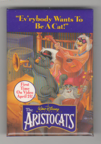 Aristocats Movie Poster Button - DS Cast only Never sold Buttonpin