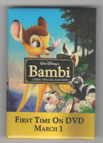 Bambi - Video/DVD Release Thumper & Flower button pin
