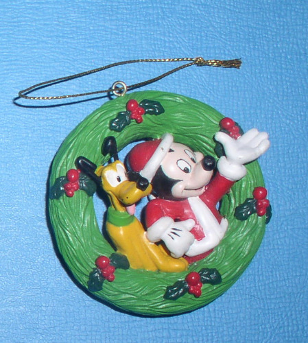Mickey Mouse and Pluto in a Holiday in a Christmas reef ornament