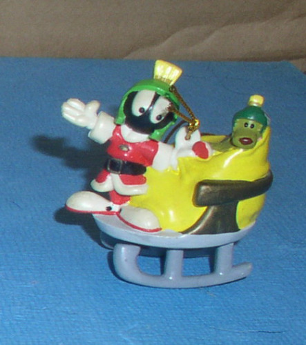 Marvin the Martian full body as Santa in sled Looney Tunes Ornament