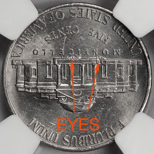 2006 NGC Clashed (Eyes) Die Clash Nickel Mint Error Great Eye Appeal  Extremely Rare