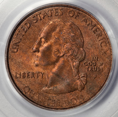 2000 PCGS MS63 Missing Clad Layer Maryland State Quarter Mint Error Copper  Color