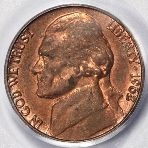 1962 PCGS MS62 Sintered Planchet Nickel Mint Error Strong Copper Color