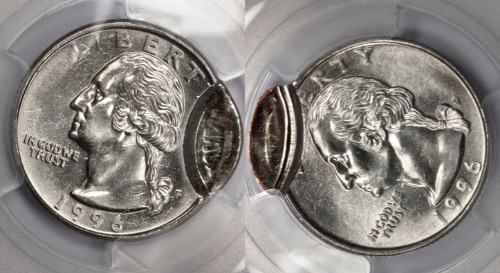 1996 PCGS Double Holder MS64 2 Coin Mated Pair Quarter Mint Error Amazingly  Rare