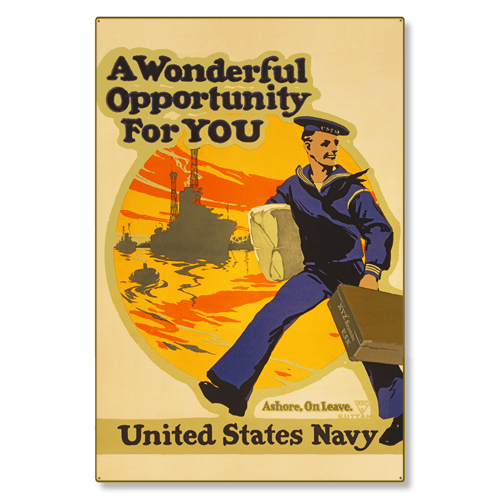 R000015-12 WWI Propaganda Poster USN US Navy Opportunity Steel Metal Vintage Image Wall Decor Art