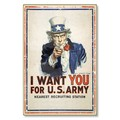 R000016-12 WWI Propaganda Poster Uncle Sam I Want You For US Army Steel Metal Vintage Image Wall Dec
