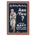 R000035-12 WWI Propaganda Poster Your US Navy Needs You USN Duty Steel Metal Vintage Image Wall Deco