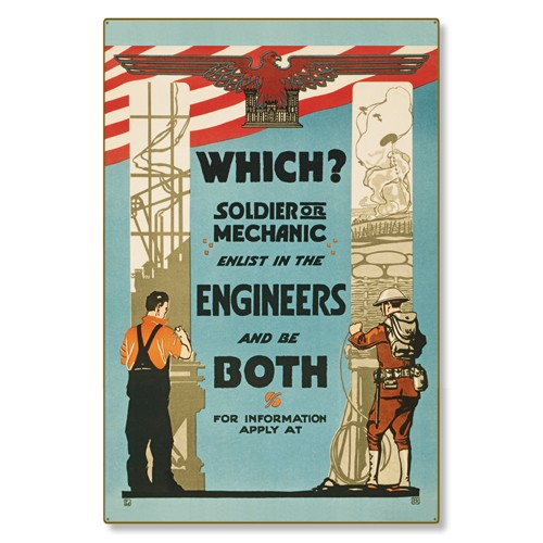 R000039-12 WWI Propaganda Poster Enlist in the Engineers Steel Metal Vintage Image Wall Decor Art
