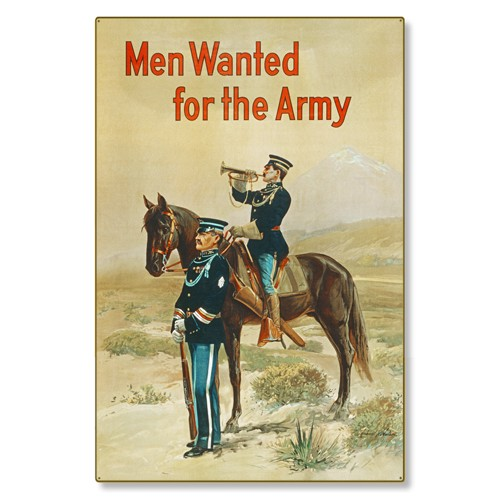 R000040-12 WWI Propaganda Poster Men Wanted For the US Army Bugle Steel Metal Vintage Image Wall Dec