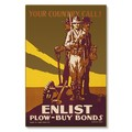 R000046-12 WWI Propaganda Poster Your Country Calls Enlist Plow Buy Steel Metal Vintage Image Wall D